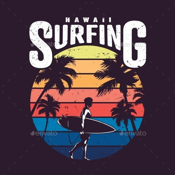Vintage Colorful Hawaii Surfing Label - People Characters