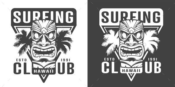 Vintage Hawaiian Surf Logotype - Sports/Activity Conceptual