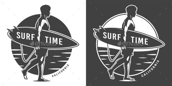 Vintage Surf Emblem - People Characters