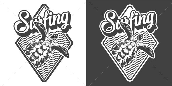 Vintage Surfing Emblem - Animals Characters