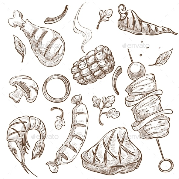 BBQ Food Meat and Vegetables or Seafood Isolated - Food Objects