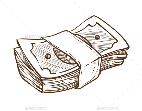 Money Stack in Bundle Isolated Sketch Dollar Bills - Concepts Business