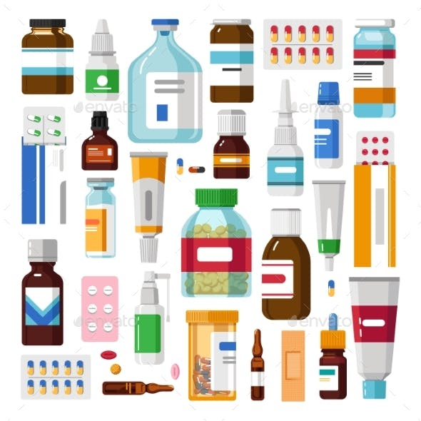 Medicine Pills or Capsules and Ointments Syrups