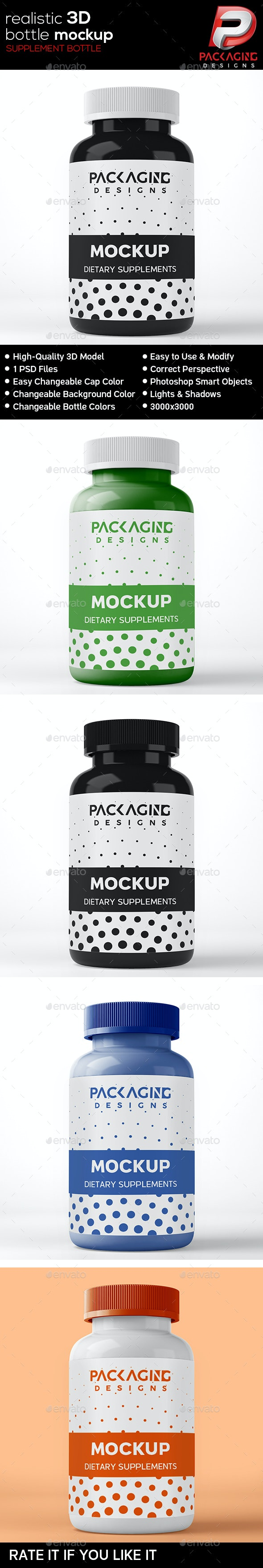 Realistic 3D Supplement Bottle Mock-Up-12 - Packaging Product Mock-Ups