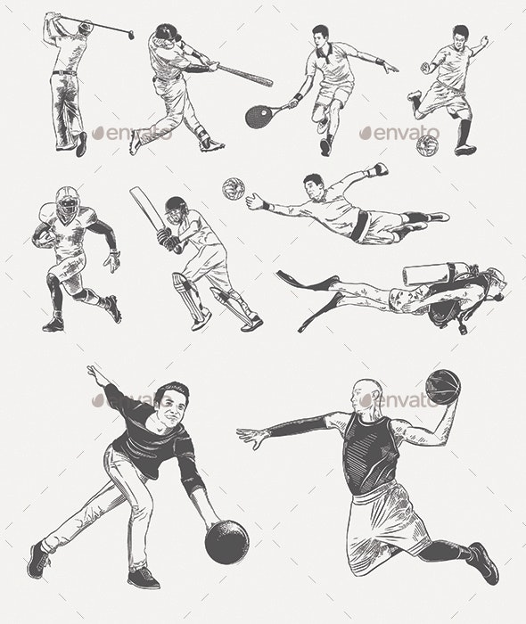 Players and Sportsmen Sketches - People Characters