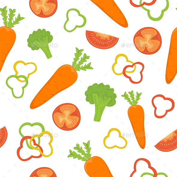 Seamless Background with Vegetables - Food Objects