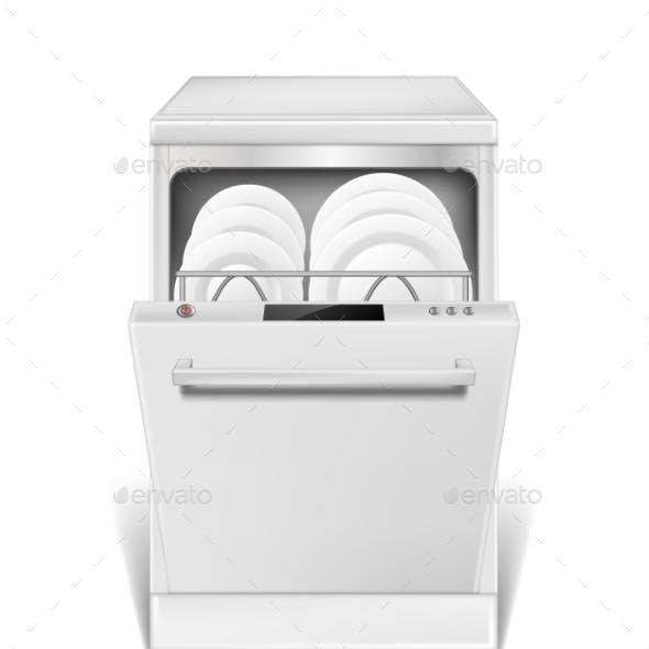 Realistic Dishwasher Machine with Open Door