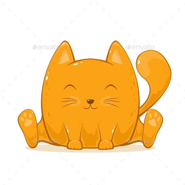 Happy Cat on White Background - Animals Characters