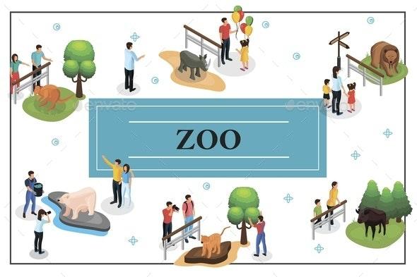 Isometric Zoo Concept - People Characters