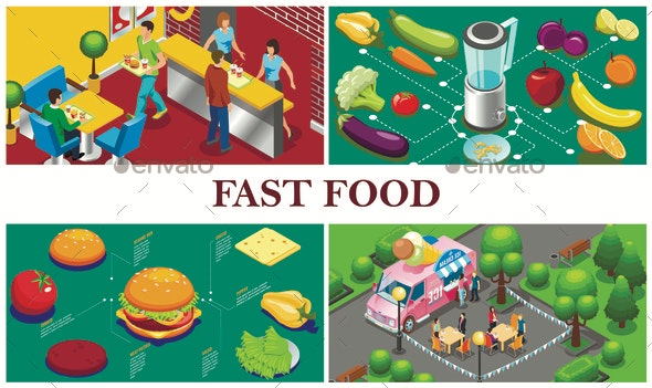 Isometric Fast Food Concept - Food Objects