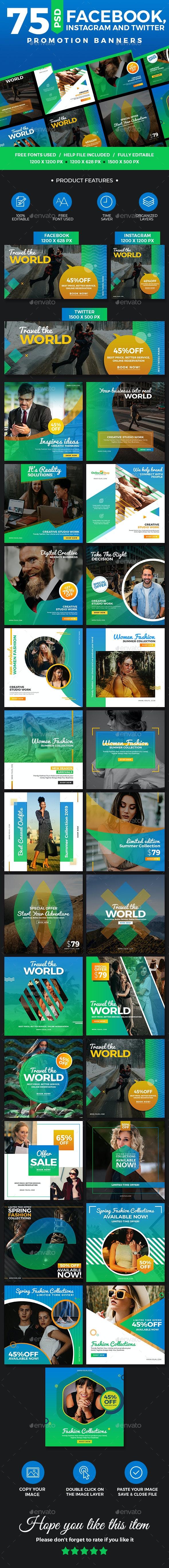 75 Facebook, Instagram & Twitter Multipurpose Banners - Social Media Web Elements