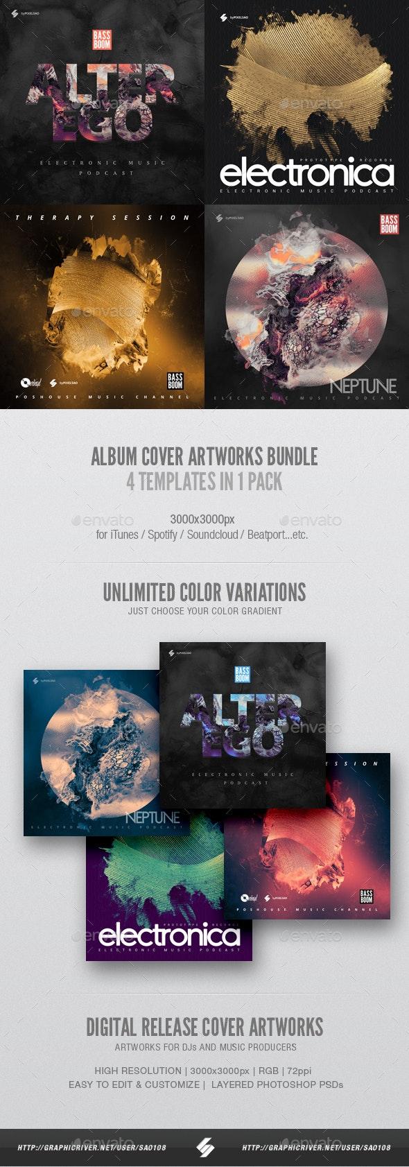 Electronic Music Album Cover Artwork Templates Bundle 9 - Miscellaneous Social Media