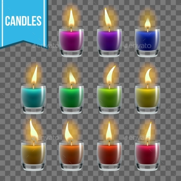 Candles Set Vector - Man-made Objects Objects