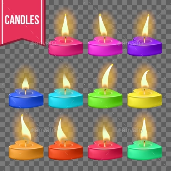 Candles Set Vector Heart Form Wax Design - Valentines Seasons/Holidays
