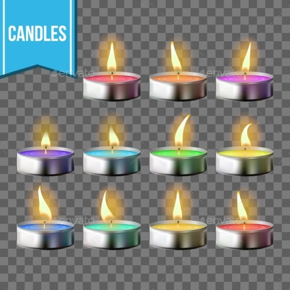 Candles Set Vector Tea Light Metal Cup - Man-made Objects Objects