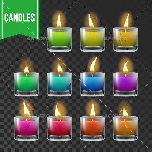 Candles Set Vector Glass Jar - Man-made Objects Objects