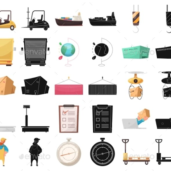 Isolated Object of Goods and Cargo Icons