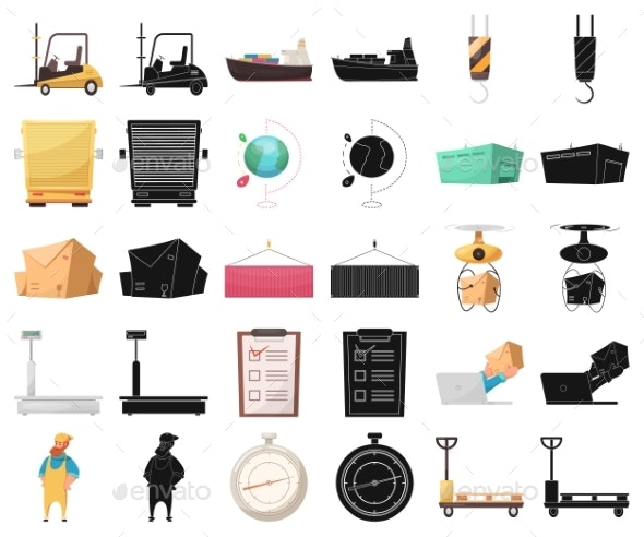 Isolated Object of Goods and Cargo Icons - Miscellaneous Vectors