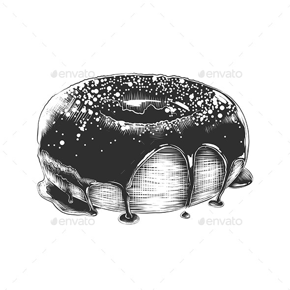 Hand Drawn Sketch of Donut - Food Objects