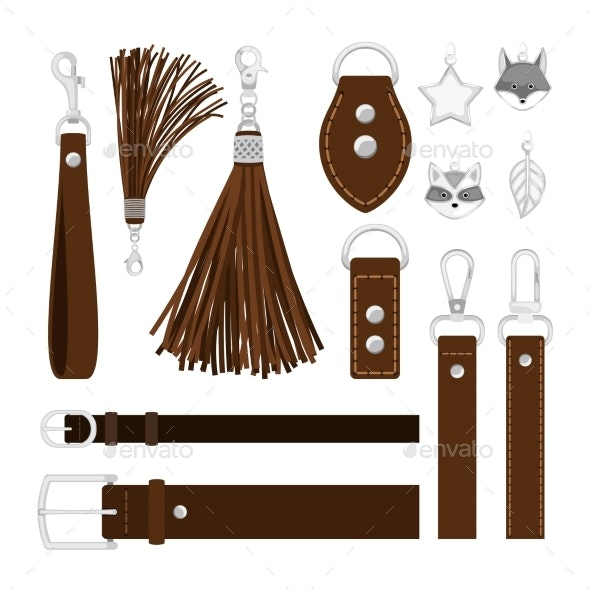 Leather Tassels Isolated on White - Man-made Objects Objects