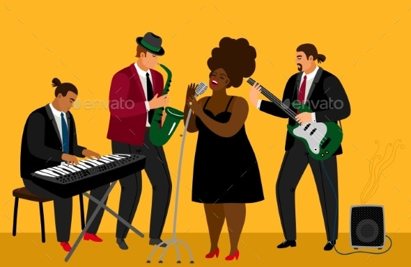 Jazz Band Illustration - People Characters
