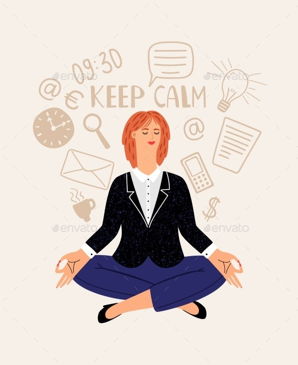 Woman Office Meditation - People Characters
