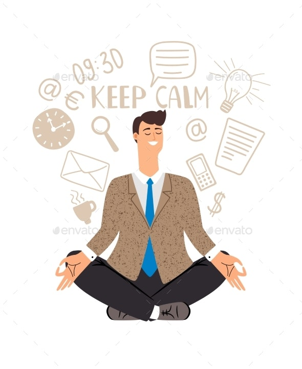 Businessman Meditation Icon - People Characters
