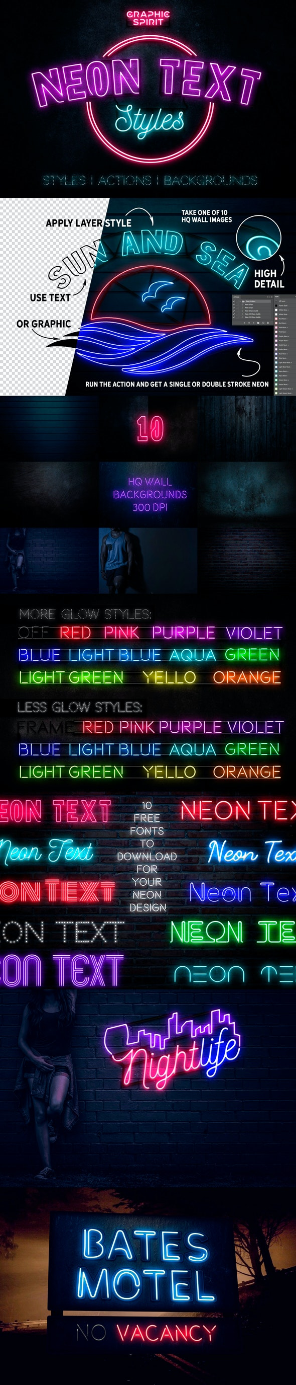 Neon Text Layer Styles & Extras - Text Effects Styles