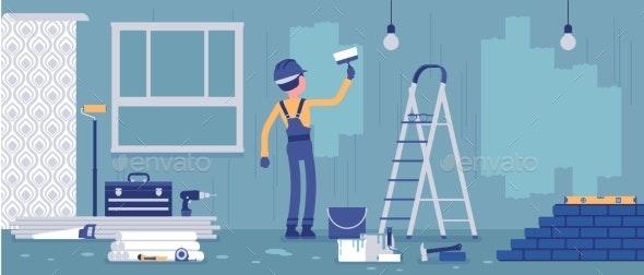 Repair of Apartments Worker Painting Walls - Industries Business