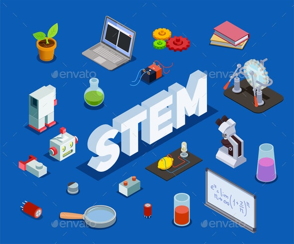 Scientific Education Isometric Composition - Industries Business
