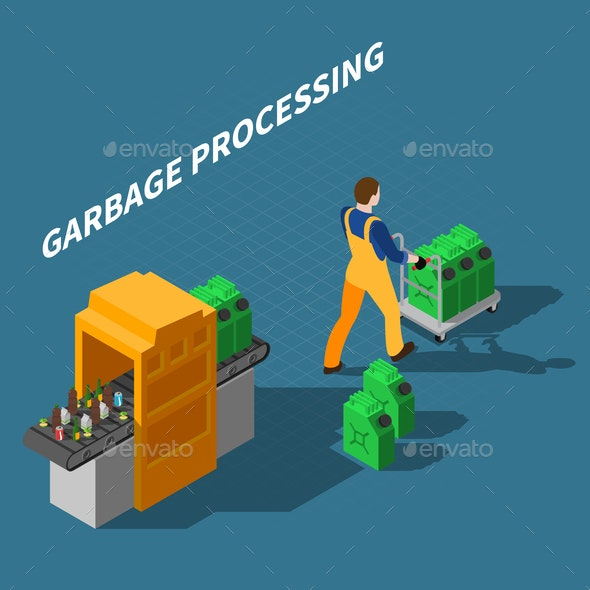 Garbage Processing Isometric Composition - Industries Business