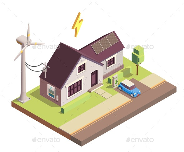 Green Energy Isometric Composition - Buildings Objects