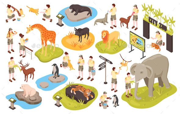 Isometric Animal Park Set - Animals Characters