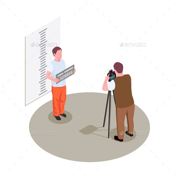 Prison Jail Isometric Composition - Backgrounds Decorative