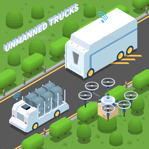 Unmanned Trucks Isometric Composition - Miscellaneous Vectors