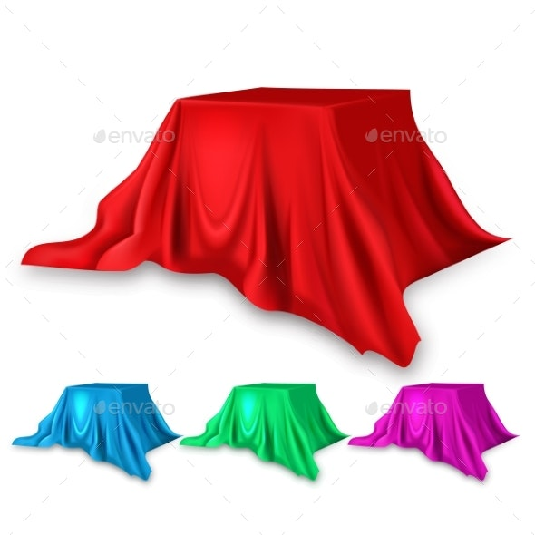 Stage Red Silk Set Vector - Man-made Objects Objects