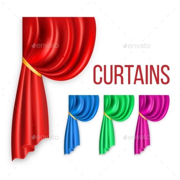 Curtain Red Silk Set Vector