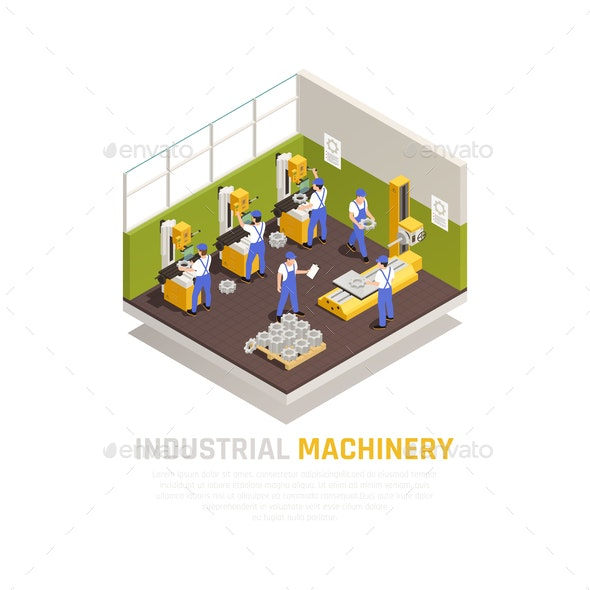 Industrial Machinery  Isometric Concept - People Characters
