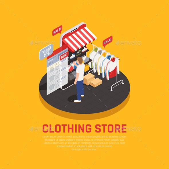 Mobile Shopping Isometric Concept - Food Objects
