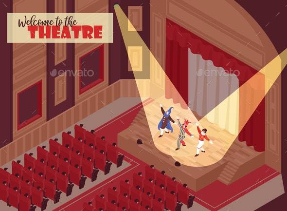 Isometric Opera Theatre Illustration - People Characters