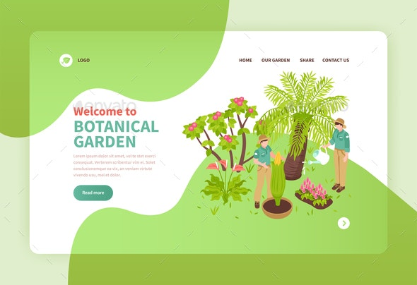 Botanical Garden Isometric Banner - Business Conceptual