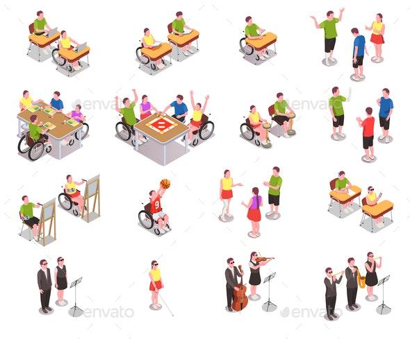 Inclusive Education Icons Set - Sports/Activity Conceptual
