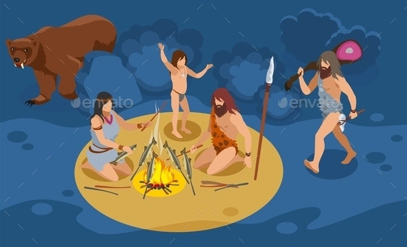 Stone Age Family Composition - People Characters