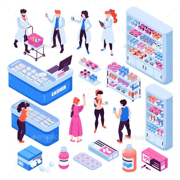 Isometric Pharmacy Set - Health/Medicine Conceptual