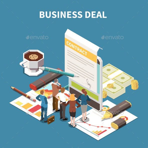 Business Strategy Isometric Composition - Business Conceptual