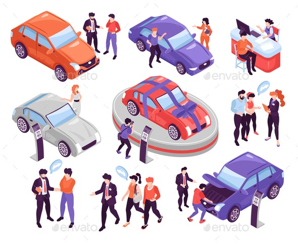 Car Show Room Set - People Characters