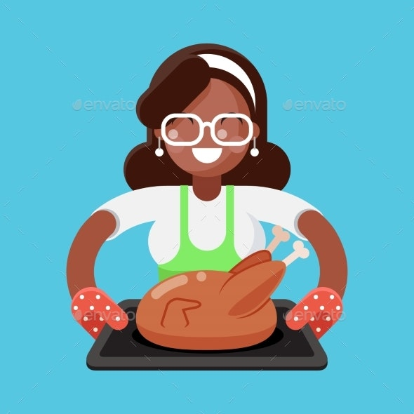 Woman with Fried Chicken - Food Objects