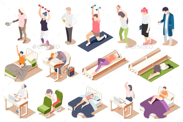Human Circadian Rhythms Isometric Icon Set - People Characters