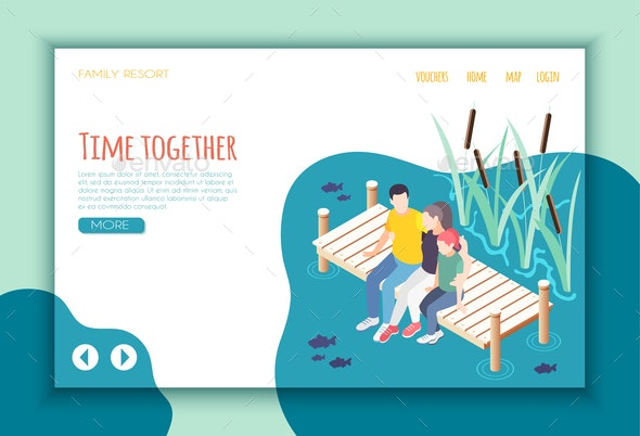Time Together Isometric Landing Page - People Characters