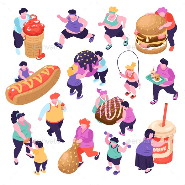 Gluttony Isometric Icons Set - Food Objects